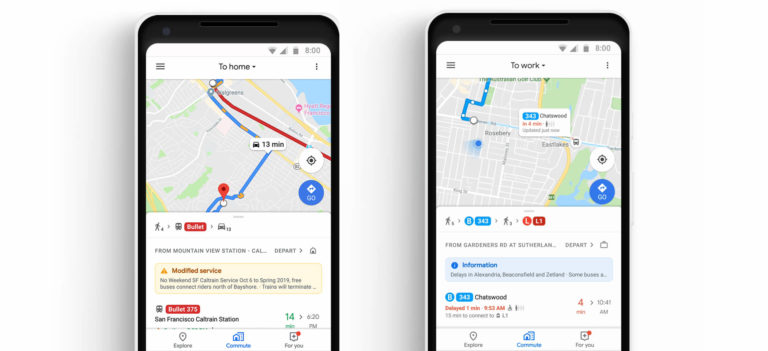 Google Maps adds 'Commute' tab and music integration