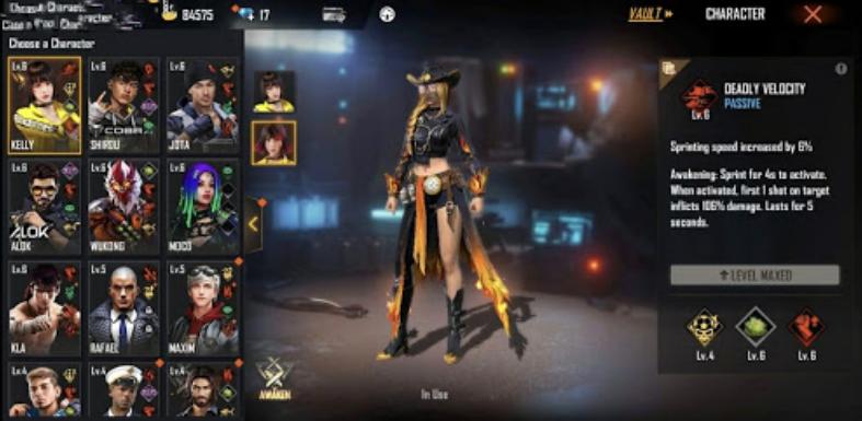 Character in FreeFire - Techvivi